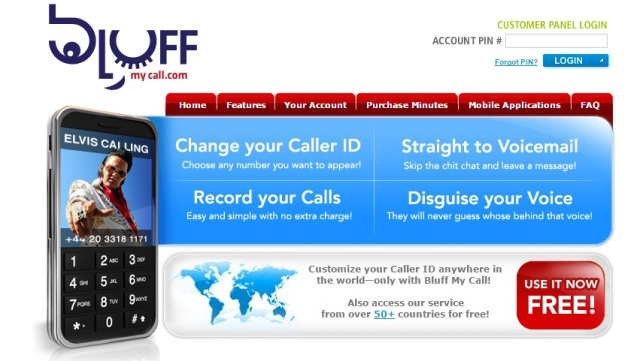 caller id spoofing using bluff my call