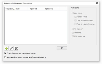 Access Permissions ammy admin