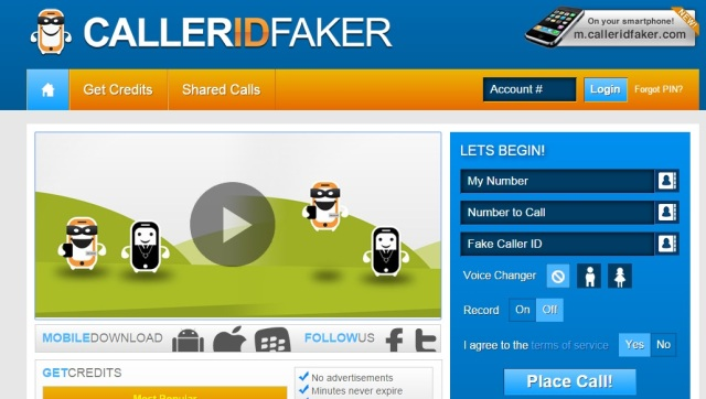 spoof caller id using caller id faker